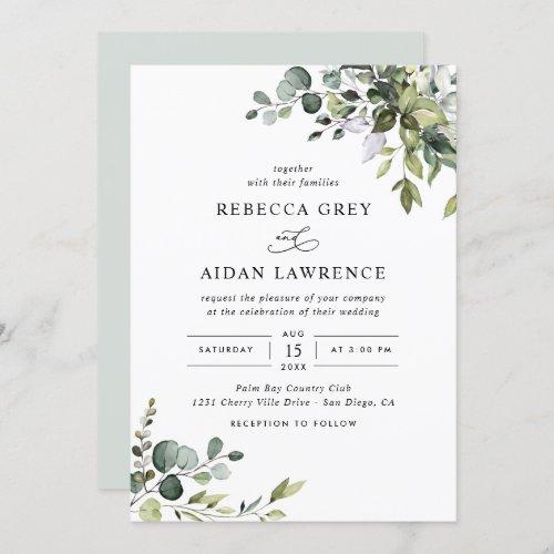 Rustic Eucalyptus Greenery Wedding Invitation