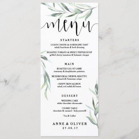 Rustic Eucalyptus Wedding Menu Card
