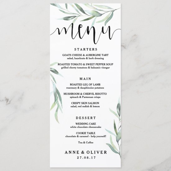 Rustic Eucalyptus Wedding Menu Card