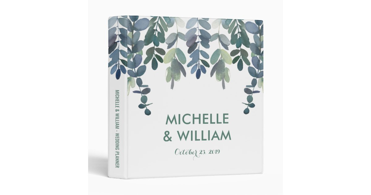 Printable Wedding Planner Binder Planning A Rustic: Rustic Eucalyptus Wedding Planner