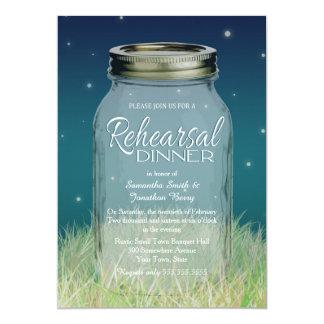 Rustic Evening Mason Jar Rehearsal Dinner 5x7 Paper Invitation Card