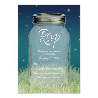 Rustic Evening Mason Jar Wedding RSVP Card