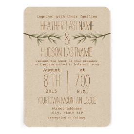 Rustic Evergreen Branches Wedding Invite
