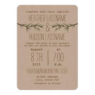"""Rustic Evergreen Branches Wedding Invite 5"""" X 7"""" Invitation Card"""