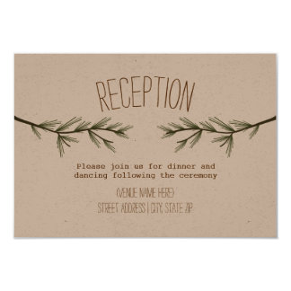 Rustic Evergreen Branches Wedding Reception Card