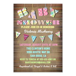 Rustic Fabric Shabby Chic  Baby Shower Invitations