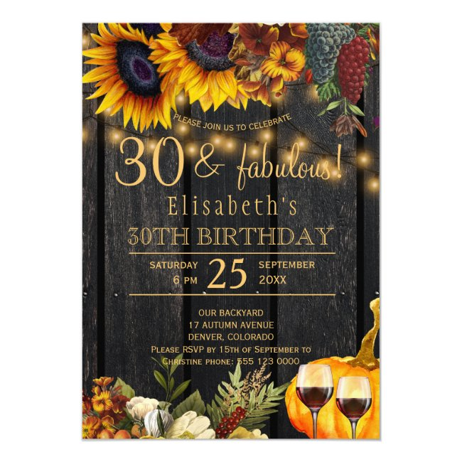 Rustic fall 30 and fabulous 30th birthday party invitation