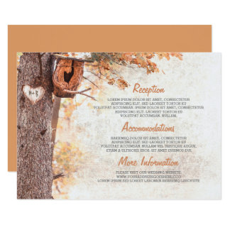 Rustic Fall and Bird House Wedding Details Card