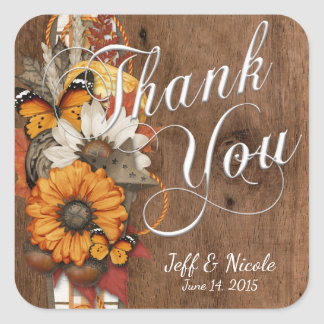 Rustic Fall Autumn Country Barn Wedding Square Sticker