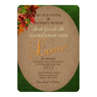Rustic Fall Autumn Leaves Wedding Invitation