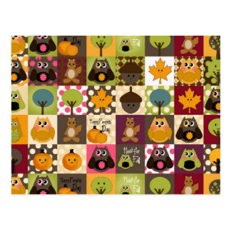 Rustic Fall/Autumn Owls Postcard