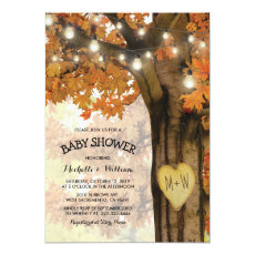 Rustic Fall Autumn Tree Backyard Baby Shower Invitation