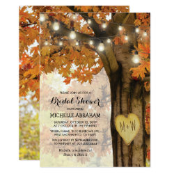 Rustic Fall Autumn Tree Lights Bridal Shower Invitation