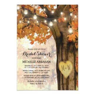 Rustic Fall Autumn Tree Lights Bridal Shower Invitation