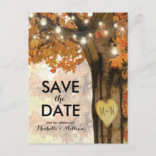 rustic fall autumn tree lights save the date announcement postcard