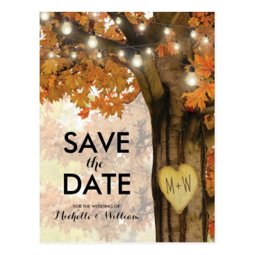 special_stationery Rustic Fall Autumn Tree Lights Save the Date Postcard