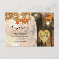 Rustic Fall Autumn Tree Lights Wedding Directions Enclosure Card