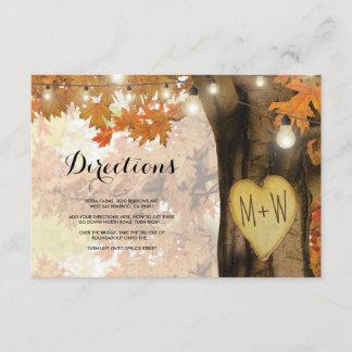 Rustic Fall Autumn Tree Lights Wedding Directions Enclosure Card