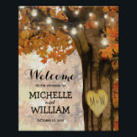 "Rustic Fall Autumn Tree Lights Welcome Wedding Poster<br><div class=""desc"">Autumn woodland welcome wedding poster featuring a rustic fall tree covered in red, orange and yellow leaves, a carved heart with your initials, string twinkle lights and a modern wedding text template. For further personalization, please click the &quot;Customize it&quot; button to modify this template. All text style, colors, and sizes...</div>"