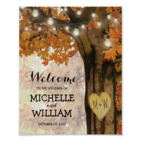 Rustic Fall Autumn Tree Lights Welcome Wedding Poster