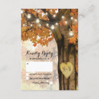 Rustic Fall Autumn Tree Twinkle Light Wedding RSVP
