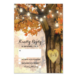 Rustic Fall Autumn Tree Twinkle Light Wedding RSVP Card