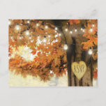"""Rustic Fall Autumn Tree Twinkle Light Wedding RSVP Invitation Postcard<br><div class=""""desc"""">Autumn woodland wedding rsvp postcards featuring a rustic fall tree covered in red,  orange and yellow leaves,  a carved heart with the word &quot;rsvp&quot;,  string twinkle lights and a modern wedding response template.</div>"""