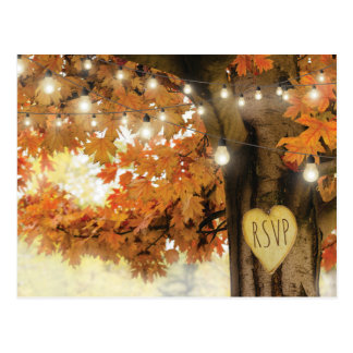 Rustic Fall Autumn Tree Twinkle Light Wedding RSVP Postcard