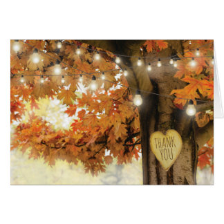 Rustic Fall Autumn Tree Twinkle Lights Thank You Card