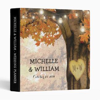 Rustic Fall Autumn Tree Twinkle Lights Wedding 3 Ring Binder