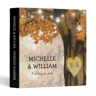 Rustic Fall Autumn Tree Twinkle Lights Wedding 3 Ring Binder