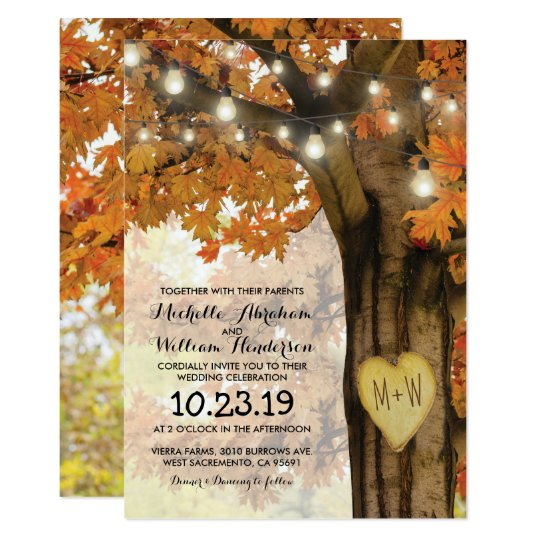 rustic fall autumn tree twinkle lights wedding card | zazzle, Wedding invitations