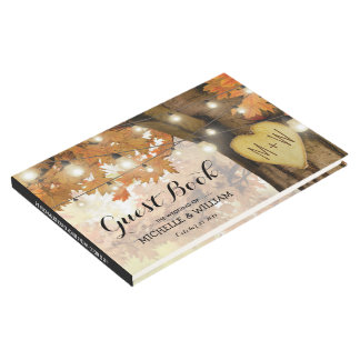 Rustic Fall Autumn Tree Twinkle Lights Wedding Guest Book