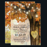 """Rustic Fall Autumn Tree Twinkle Lights Wedding Invitation<br><div class=""""desc"""">Autumn woodland wedding invitations featuring a rustic fall tree covered in red, orange and yellow leaves, a carved heart with your initials, string twinkle lights and a modern wedding text template. For further personalization, please click the &quot;Customize it&quot; button to modify this template. All text style, colors, and sizes can...</div>"""