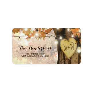 Rustic Fall Autumn Tree Twinkle Lights Wedding Label