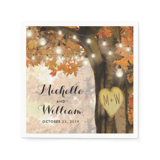 Rustic Fall Autumn Tree Twinkle Lights Wedding Napkin