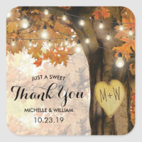 Rustic Fall Autumn Tree Twinkle Lights Wedding Square Sticker