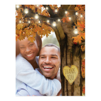 Rustic Fall Autumn Tree Wedding Thank You Postcard