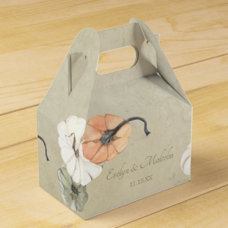 Rustic Fall Autumn White, Orange Pumpkins Wedding Favor Box