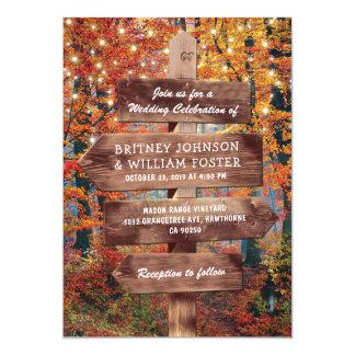 Rustic Fall Autumn Woodland String Lights Wedding Card