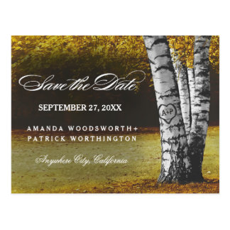 Rustic Fall Birch Tree Country Save The Date Postcard