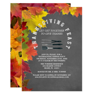 Rustic Fall Chalkboard Thanksgiving Dinner Party Card