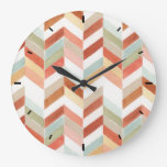 Rustic Fall Chevron Watercolor Pattern Large Clock