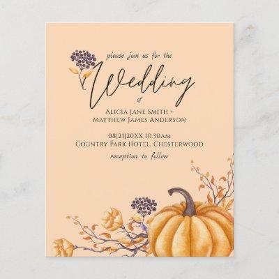 Rustic Fall Coral Pumpkin Budget Wedding Invites