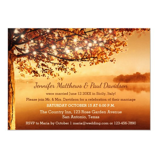 Post Wedding Party Invitation: Rustic Fall Elope Or Post Wedding Party Invitation