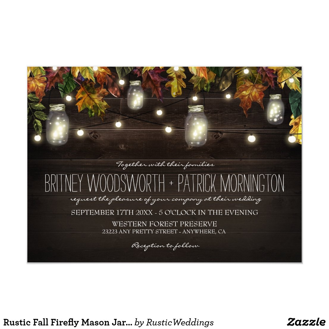 Rustic Fall Firefly Mason Jar Wedding Invitations