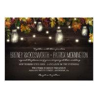 Rustic Fall Firefly Mason Jar Wedding Invitations