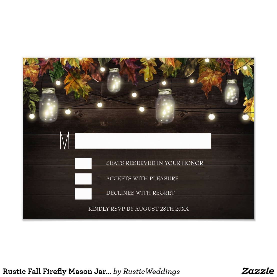 Rustic Fall Firefly Mason Jar Wedding RSVP Cards