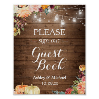 Rustic Fall Floral Mason Jar Lights Sign Guestbook