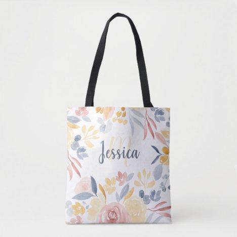 Rustic fall floral watercolor name monogram tote bag